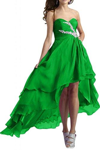 TOSKANA BRAUT Modisch Herzform Chiffon hi-Lo Abendkleider Lang Brautjungfern Fest Party Ballkleider Verde