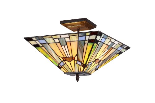Lighting Kinsey 2-Light Tiffany Style Mission Semi Flush Ceiling Fixture with 14 in. Shade (Mission Bronze Ceiling Fixture)