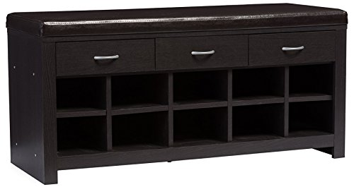 Baxton Studio Entryway Bench, Espresso