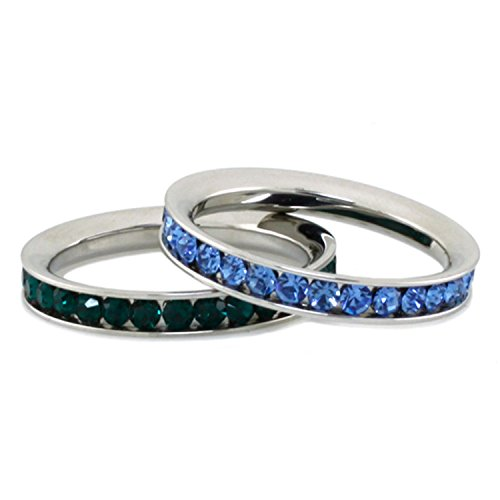 Stainless Steel Sapphire Crystal (Stainless Steel Eternity 3mm Blue Sapphire & Emerald Color Crystal Stackable Rings (2 pieces) Set, Size 6)