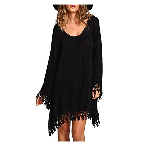 Darkey Wang Women Sexy Long Sleeve Casual Blouse Loose Mini Dress Plus Size (3XL(US(22-24)£ (Plus Size Fairy Dress)