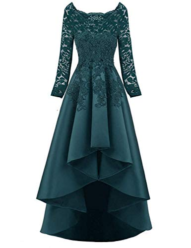 Scarisee Women's 2019 Long Sleeves High Low Prom Evening Dresses Beaded Lace Bridesmaid Cocktail Party Gowns 2019 Jade 02