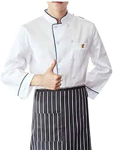 2b46f3649de Alion Men's Fashion Cool Unisex Chef Jackets Long Sleeve Chef Coat