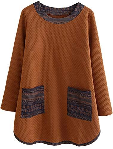 Mordenmiss Women's Casual Long Sweatshirt Flower Printed T-shirt Dress M (Flower Womens Dress Jumper)