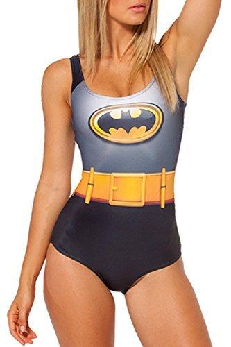 V17 Women's One-Piece Swimsuit Batman Bathing Suits Superhero Swimwear Digital Print Tight Stretch -