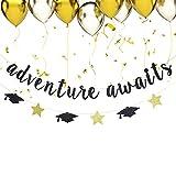 Black Adventure Awaits Banner - Graduation Banner - 2020 Graduation Party Decoration Supplies