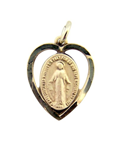 Sterling Silver Heart Shaped Our Lady Miraculous Medal Pendant, 1/2 Inch