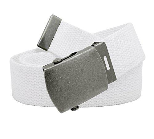 Silver Antique Buckle (Women's Antique Silver Slider Belt Buckle with Canvas Web Belt Medium White)