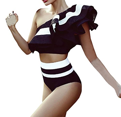 Gobought Women's Striped One Shoulder Ruffle Bodysuit Hiagh Waisted Bikini Swimsuit