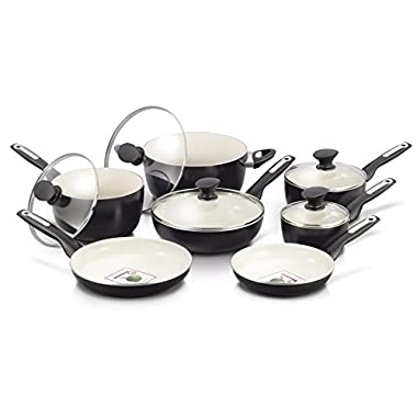 GreenPan Rio 12 Piece Ceramic Non-Stick Cookware Set, Black (with cream white interior)