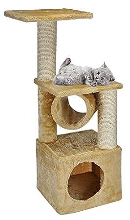 Gato Rascador Árbol para gatos gato Manta cueva gato Camilla Espacio Rascador Sisal Peluche Beige 30