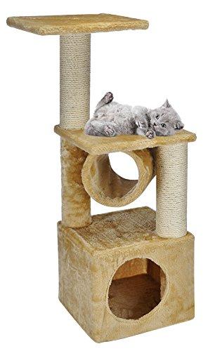 Gato Rascador Árbol para gatos gato Manta cueva gato Camilla Espacio Rascador Sisal Peluche Beige 30 x 30 x 90 cm: Amazon.es: Productos para mascotas