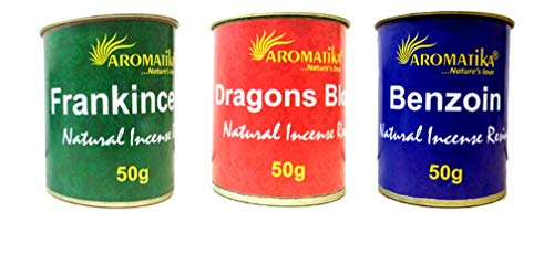 Aromatika Incense Resin Combo 'E' of 3 Pcs. of Frankincense, Original Dragon's Blood, Benzoin Each Jar is of 50 gm.
