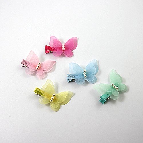 ShungFun Cute Glitter Pearl Butterfly Chiffon Hair Bow Clips Non-slip Hair Clips Hair Barrettes Hair Bows for Little Girls Baby Kids Keens Children Toddlers Women by ShungFun (Image #5)