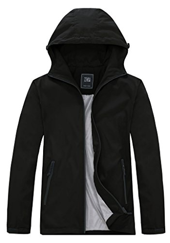 ZSHOW Men's Cycling Breathable Skin Coat Packable Water Repellent Jacket With Water Repellent Zipper(Black,Large)