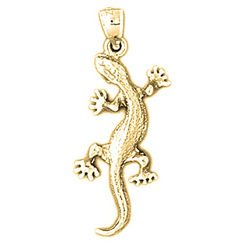 Silver Yellow Gold Plated Gecko Pendant - 30mm