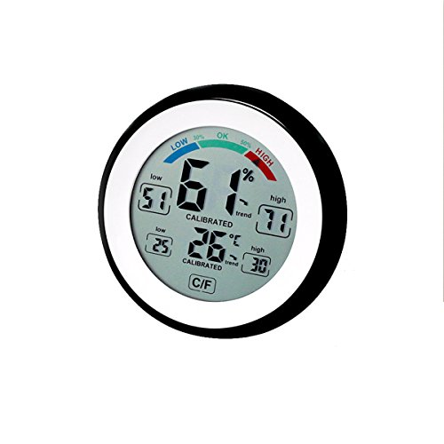 Price comparison product image Digital Indoor Hygrometer Thermometer, Home Room Wall Desk Temperature Gauge and Humidity Monitor With Max / Min Value & Trends, Comfort Indicators(Black)