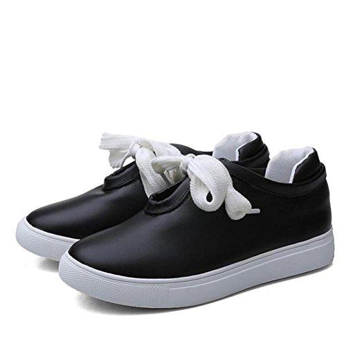 L@YC Femmes Chaussures plates Versatile Casual Chaussures Pour Femmes Dans Le Printemps šŠtudiant Tie Blanc Chaussures Blanc Noir , black , 41