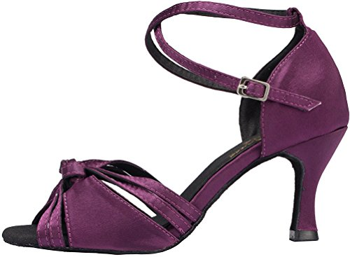 CFP YYC-L115 Womens Latin Tango Ballroom 3 Inch Heel Professional Satin Dance Shoes Purple TJMQoX6y