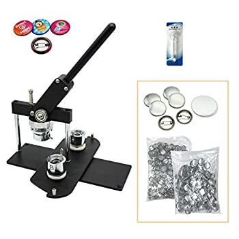 Image of Buttons ChiButtons Button Maker Kit 25mm (1') Badge Press Machine-B400 + 25mm Round Die Moulds + 500 Set Button Components + Adjustable Circle Cutter (Black-New)