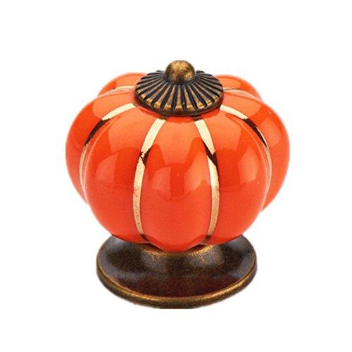 Derker Pack of 12 Pumpkin Ceramic Pull Knobs Handle for Cabinet Cupboard Wardrobe Drawer (Orange) (Orange Cabinet Handles compare prices)