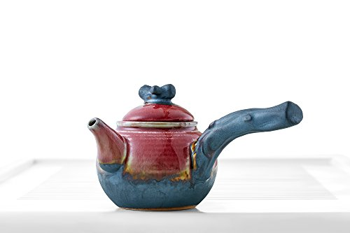 Teapot Side Handle Lid Mottled Glaze Chinese Tea Pot Kettle Clay Ceramics Teaware (red, brown, gray)