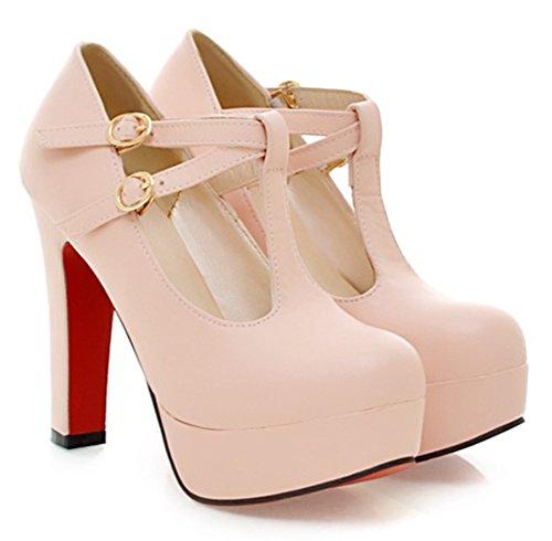 YE Damen Blockabsatz Plateau High Heels T-Spangen Pumps mit Schnalle 12cm Absatz T-Riemen Rote Sohle Schuhe Rosa