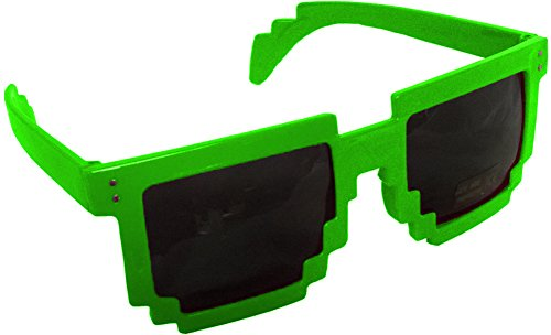 Green 80's 8-Bit Pixelated Videogame Pixels Sunglasses Costume