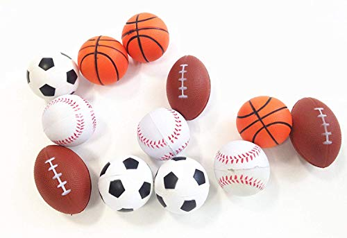 dazzling toys Mini Sports Balls Set of 12 Sports Balls for Kids - Soccer Ball, Basketball, Football, Tennis Ball (1 Dozen) (Mini Soccer Cake Topper)