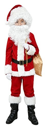 Elfjoy Children's Santa Suit Kids Christmas Halloween Costume Cosplay Set of 10 Pieces (Small) - Santa Costume Girl