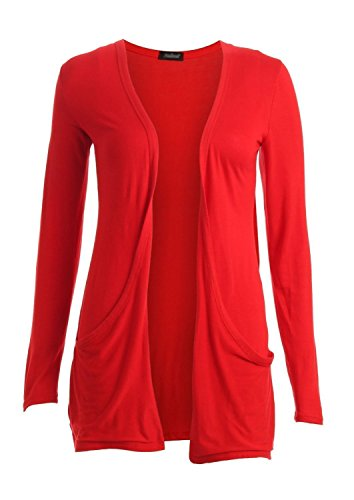 Hot Hanger Ladies Plus Size Pocket Long Sleeve Cardigan 16-26 – Large – 8-10, Red