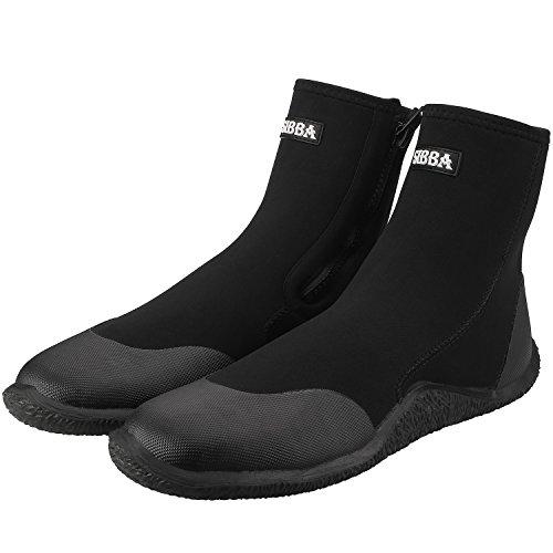 Sibba Unisex 5mm Premium Neoprene Hi Top Wetsuits Zipper Boot Diving Boots Water Sports Boots Shoes (Black-Hi Top, Men's 12 | Women's 13) (Ultra Dive Boot 5mm)