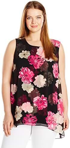 Calvin Klein Women's Plus Size Sleeveless Printed Chiffon Overlay Top