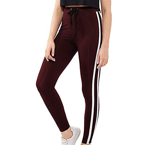 Thenxin Women Drawstring Sports Leggings High Waist Stretch Skinny Gym Fitness Running Yoga Pants(Wine,S)