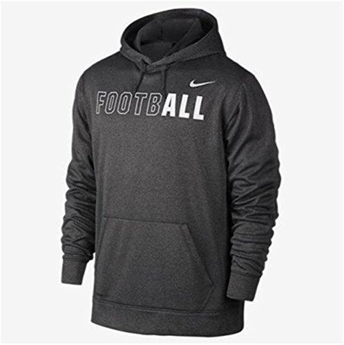 New Nike Mens Dark Charcoal Heather Gray KO Football Graphic Hoodie (X-Large) (Nike Football Sweatshirt)
