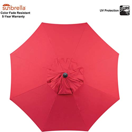 (Red Sunbrella Fabric Umbrella Canopy ONLY for 9 feet 8 Ribs Outdoor Patio Umbrella Vented Canopy (Sunbrella Canopy Only, Red))
