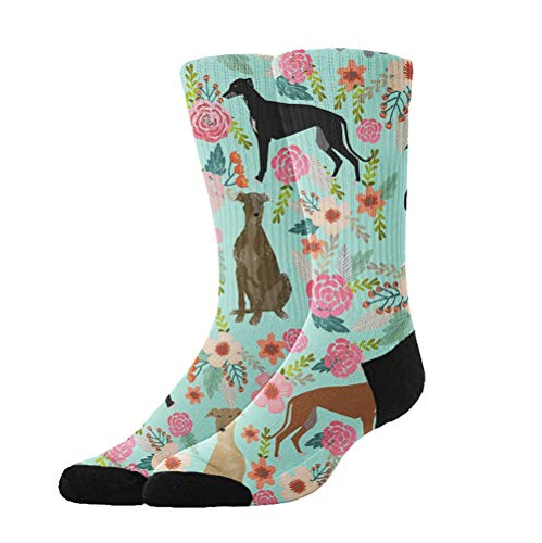 (AllDECOR Women Men Cotton Socks Greyhound Floral Cute Dog Mint Tube Stockings Funny Crazy Cool Print Cosplay)