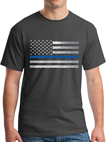 Thin Blue Line Tee Freedom 3 Percent GOP LAPD 2017 Police Flag Vintage Charcoal XXL ()