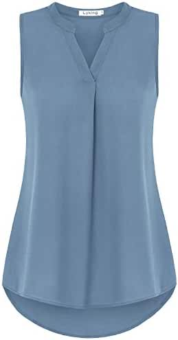 Lyking Women's Henley V Neck Sleeveless Curved Hem Chiffon Blouse Shirts Tank Tops