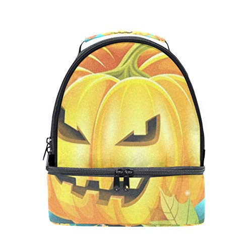 Lunch Bag Halloween Pumpkin And Autumn Leaves Double Layer Backpack Lunch Tote Insulated Reusable Adjustable Shoulder Strap