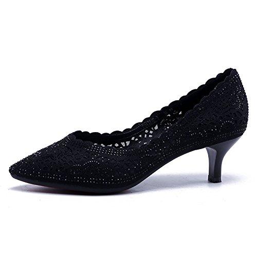 Jqdyl Tacones Zapatos Tacones Tacones Encaje Asakus Tips para mujeres Black