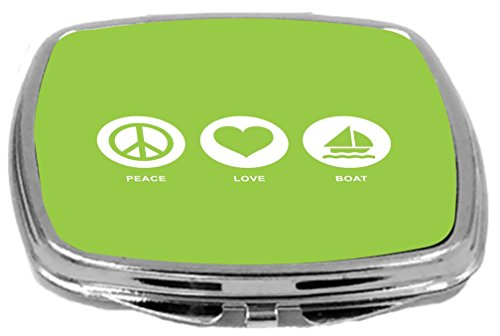 Rikki Knight Peace Love Boat Design Compact Mirror, Lime Green, 2 Ounce