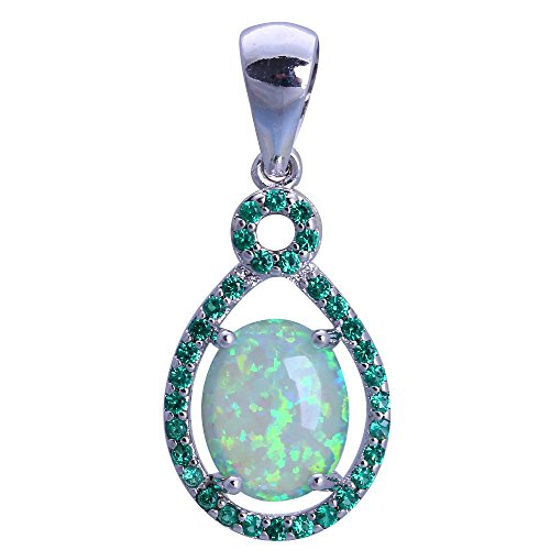 Green Zircon Fashion Jewelry Green Fire Opal Silver Necklaces Pendants for Women OPS729
