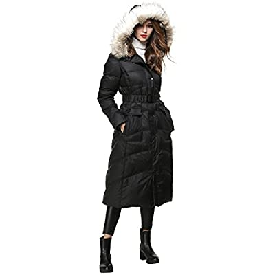BLDO Women's Long Thickened Fur Hooded Down Jacket With Sashes
