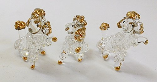 Handmade Animal Figurine Art Glass Blown Beautiful Puppy Poodle Dog Figurine Collection Set 3 Pcs Best Gift