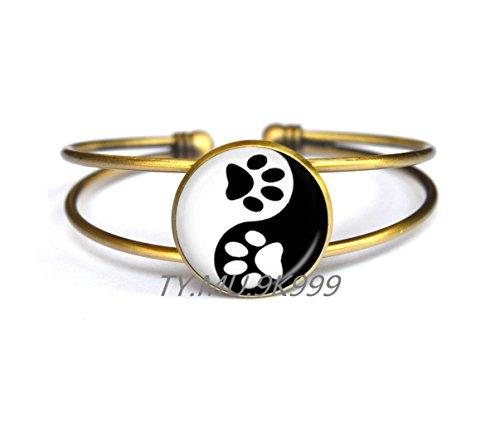Yin Yang Bracelet Pet Paw Print Bracelets Handprint Art Bracelet Tai Ji Jewelry for Animal Lover Pet Lover Cat Dog Birthday.Y061 (Handprint Halloween Cat)