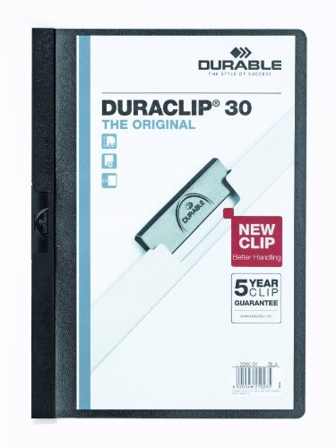 Durable Vinyl DuraClip Report Cover with Clip, Letter, Holds 30 Pages, Clear/Black (DBL220301) Size: 30 Sheet Capacity Color: Black, Model: DBL220301, Office Shop