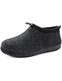 Men's Cozy Memory Foam Woolen Slippers with Elasticated Collar, Warm Closed Back House Shoes with Indoor Outdoor Anti-Skid Rubber Sole