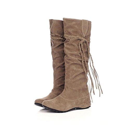 Damen Stiefel Flache Stiefel Boots Hoher runder Kopf in den