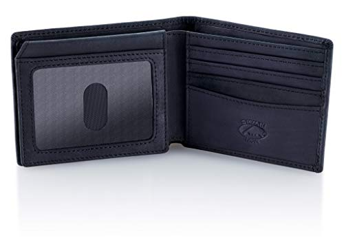 - Stealth Mode Black Leather Bifold Wallet for Men With ID Window and RFID Blocking, One Size